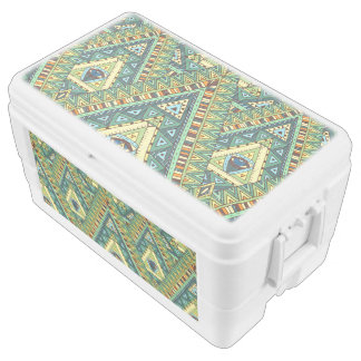 Green yellow boho ethnic pattern chest cooler