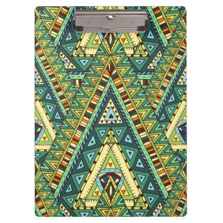 Green yellow boho ethnic pattern clipboard