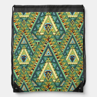 Green yellow boho ethnic pattern drawstring bag