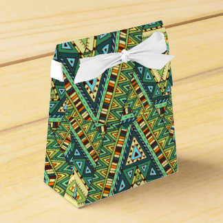 Green yellow boho ethnic pattern favor boxes