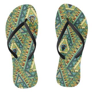 Green yellow boho ethnic pattern flip flops