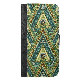 Green yellow boho ethnic pattern iPhone 6/6s plus wallet case