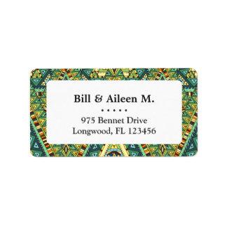 Green yellow boho ethnic pattern label
