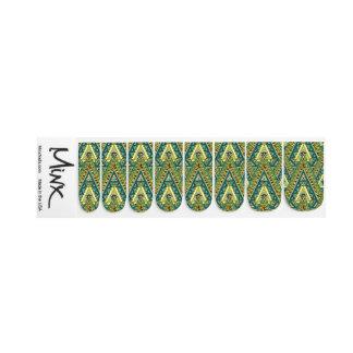 Green yellow boho ethnic pattern minx nail art