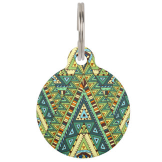 Green yellow boho ethnic pattern pet ID tag