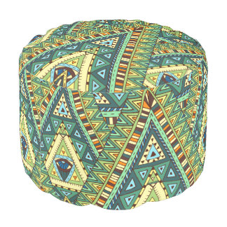 Green yellow boho ethnic pattern pouf