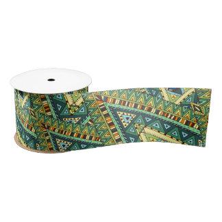 Green yellow boho ethnic pattern satin ribbon
