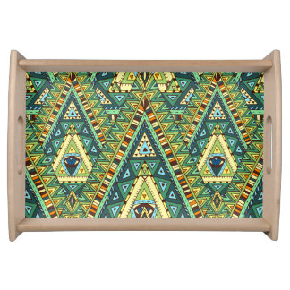 Green yellow boho ethnic pattern serving tray