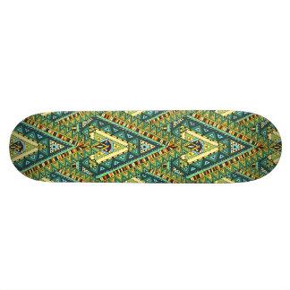 Green yellow boho ethnic pattern skateboard deck