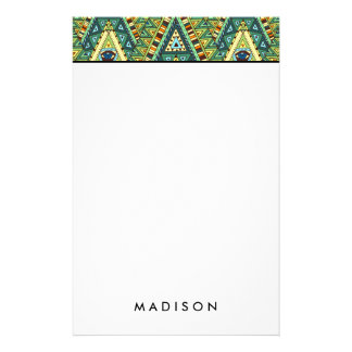 Green yellow boho ethnic pattern stationery