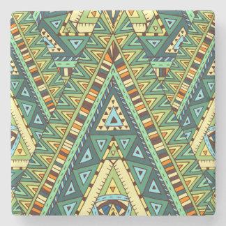 Green yellow boho ethnic pattern stone coaster
