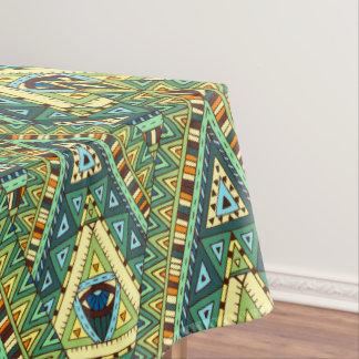 Green yellow boho ethnic pattern tablecloth
