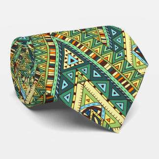 Green yellow boho ethnic pattern tie