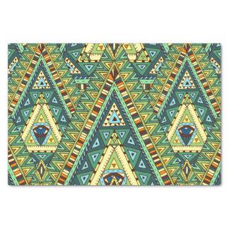 Green yellow boho ethnic pattern tissue paper