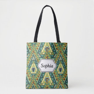 Green yellow boho ethnic pattern tote bag