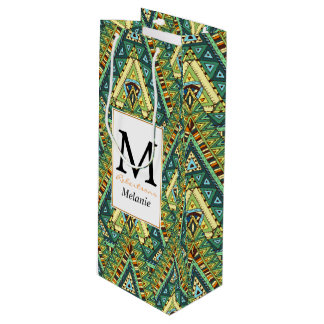 Green yellow boho ethnic pattern wine gift bag