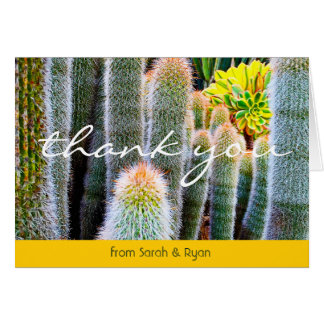 Green & yellow cacti photo custom name thank you card