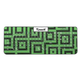Green & Yellow Checkered Tubes by Kenneth Yoncich Wireless Keyboard