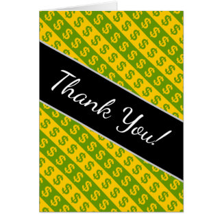 Green & Yellow Dollar Signs ($) Striped Pattern Card