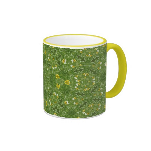 Green & yellow fractal design mug