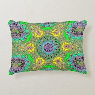 Green Yellow Fractal Design Pillow