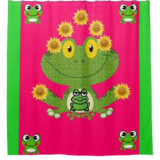 Green yellow frog children's showercurtain pink