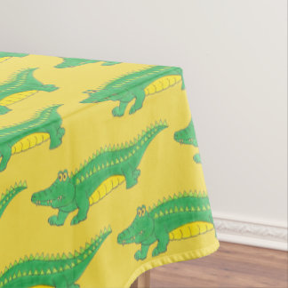 Green Yellow Gator Alligator Croc Crocodile Animal Tablecloth