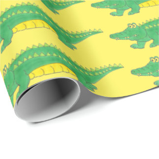 Green Yellow Gator Alligator Croc Crocodile Wrap Wrapping Paper