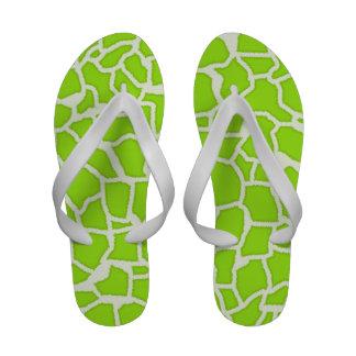 Green-Yellow Giraffe Animal Print Flip Flops