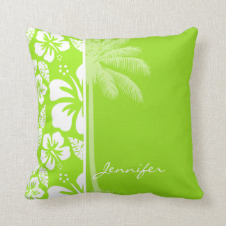 Green-Yellow Hawaiian Tropical Hibiscus; Palm Throw Pillows