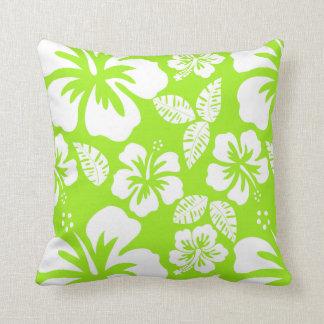 Green-Yellow Hawaiian Tropical Hibiscus Throw Pillow