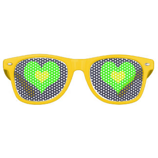 Green Yellow Heart Adult  Party Shades,Sunglass Party Sunglasses