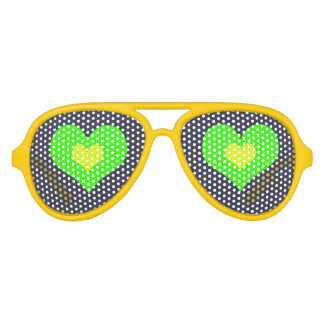 Green Yellow Heart Aviator Party Shades, Sunglass Party Sunglasses
