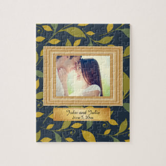 Green Yellow Leaves on Blue  Couple Photo Puzzle