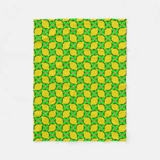 Green & Yellow Lemon Garden Pattern Fleece Blanket