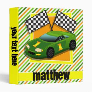 Green, Yellow, & Orange Race Car, Stripes Vinyl Binder