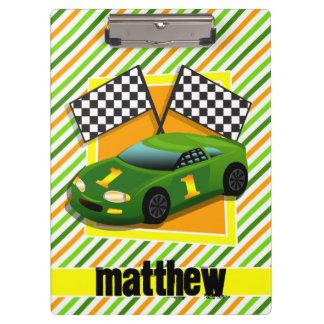 Green, Yellow, & Orange Race Car, Stripes Clipboard