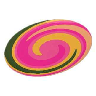 Green Yellow Pink Abstract Swirl Pattern Plate