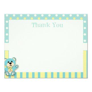 """Green & Yellow Polkadot Bear Thank You Card 4.25"""" X 5.5"""" Invitation Card"""