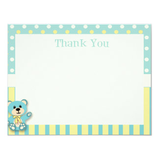 Green & Yellow Polkadot Bear Thank You Card
