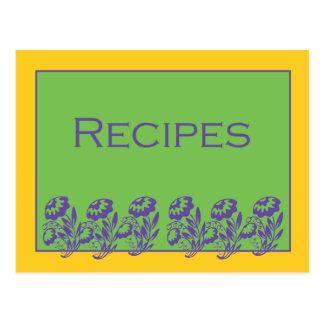 Green Yellow Purple Floral Recipe Card