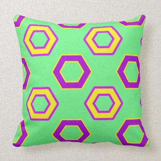Green & yellow,purple Vector Hexagon Pattern Throw Pillow