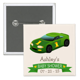 Green & Yellow Race Car Baby Shower 2 Inch Square Button