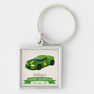 Green & Yellow Race Car Baby Shower Keychains