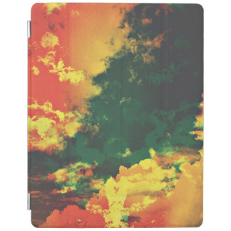 Green yellow red cloud abstract digital art design iPad cover