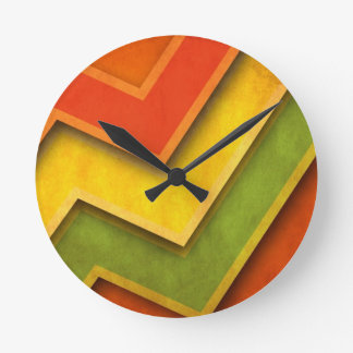 Green Yellow Red Corners Round Clock