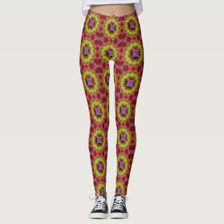 Green Yellow Red Geometric Tile Pattern Leggings