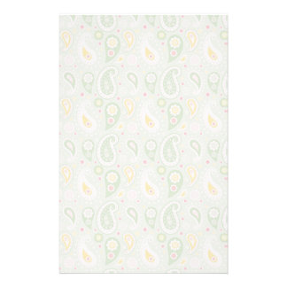 Green & Yellow Spring Paisley Customized Stationery