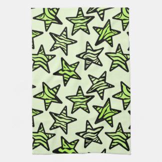 Green yellow zebra print stars kitchen towel