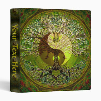 Green Yin Yang Mandala with Tree of Life 3 Ring Binder